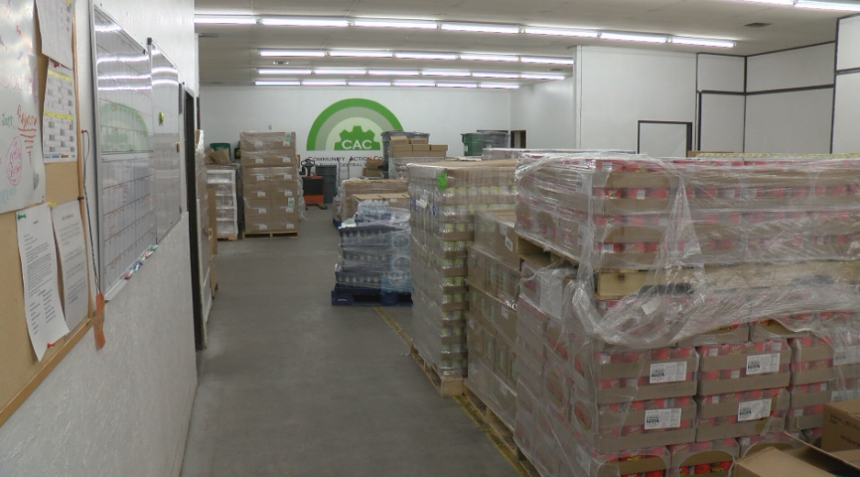 Warehouse full of donated food