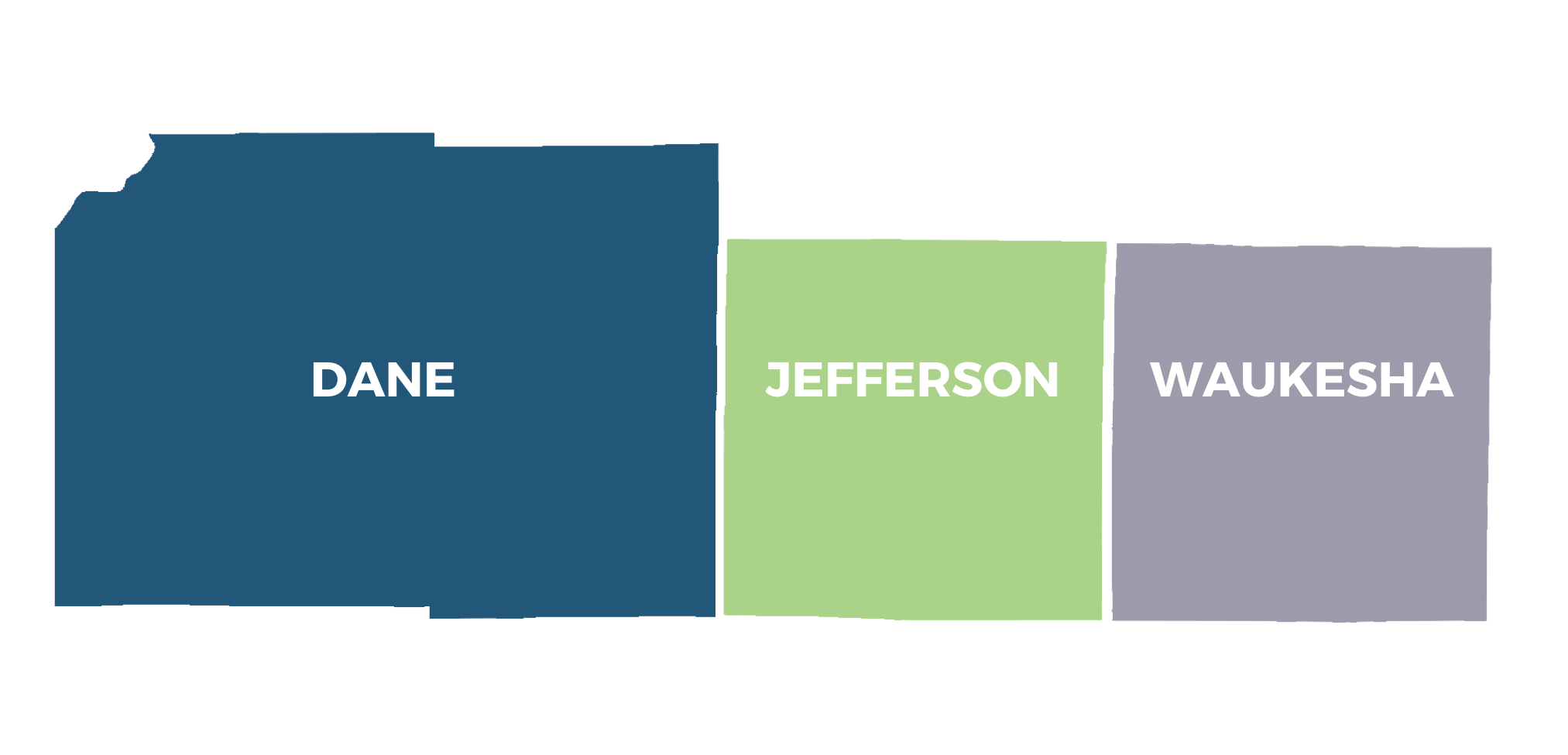 decorative outlines of dane county, jefferson county, and waukesha county